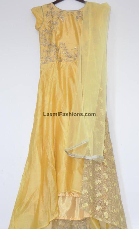 CLEARANCE SALE 35% DISCOUNT Yellow Chanderi Abaya Style Long length Gown Anarkali Salwar Kameez with Short Sleeves - Bollywood Churidar