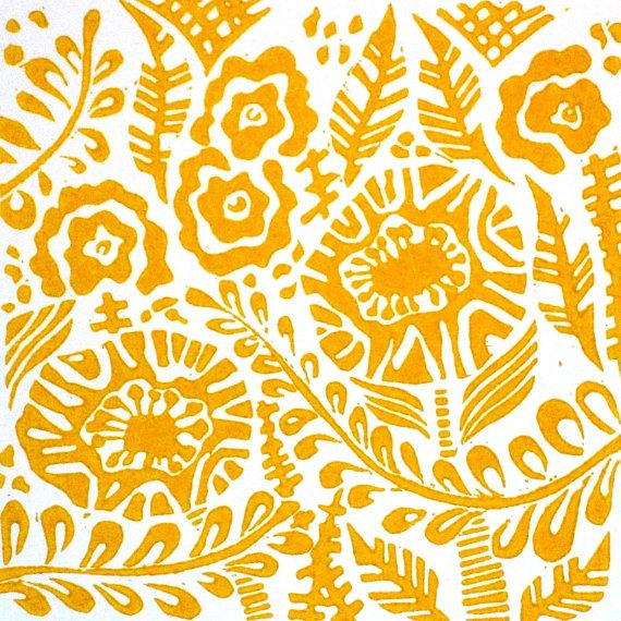 Blithe Original Linocut Relief Print in Mustard Yellow.