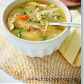 Simple homemade chicken soup. Perfect for a sick friend.