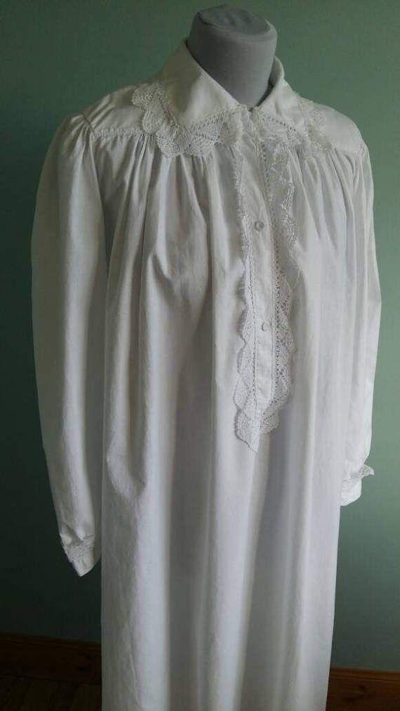 Chemise de nuit victorienne longue grande collerette en coton