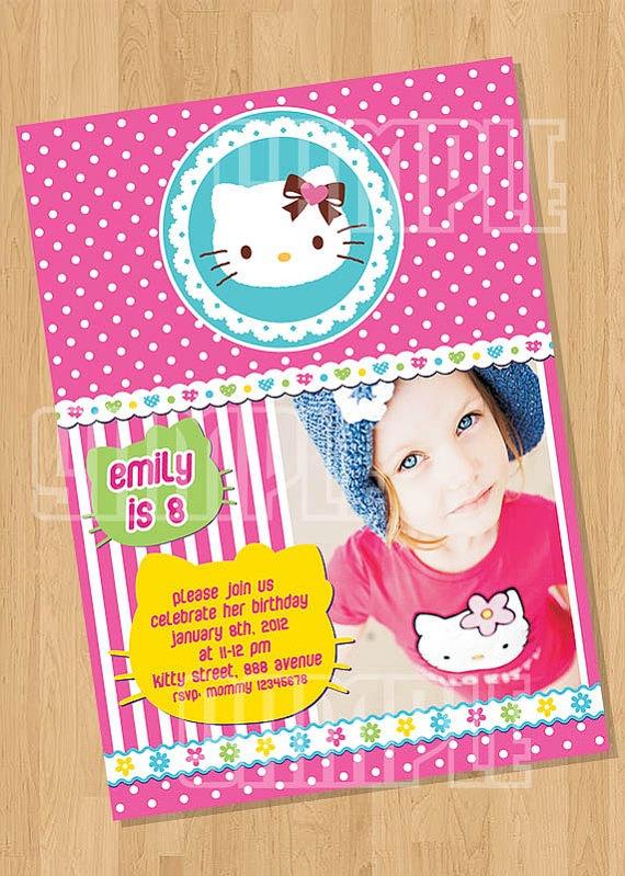 Hello Kitty Birthday Party Invitation by cutiesparties.com $8.00