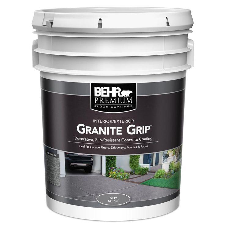 behr premium 5 gal gray granite grip decorative flat on home depot behr paint id=79330
