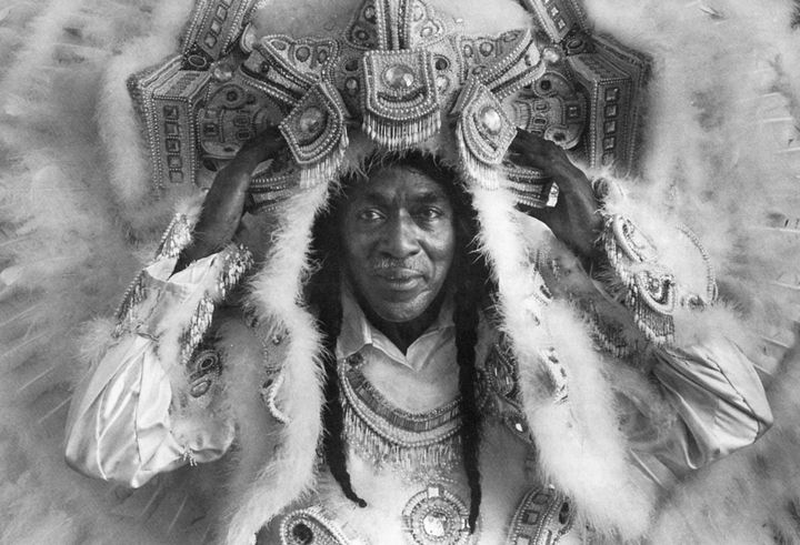 Allison Tootie Montana is Big Chief of the Yellow Pocahontas tribe of New Orleans Black Mardi Gras Indians for many years  He has worked as an innovative costume designer, a brilliant dancer, and an eloquent spokesman for African American people of Creole descent. Photograph by Kathy Anderson, Courtesy New Orleans Times-Picayune