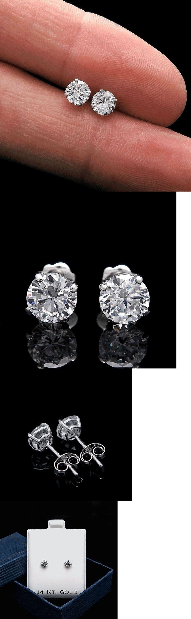 Miadora signature collection 14k white gold 1ct tdw diamond double row - Diamond 10986 1 25ct Brilliant Created Diamond Solitaire Earrings 14k White Gold Round Studs