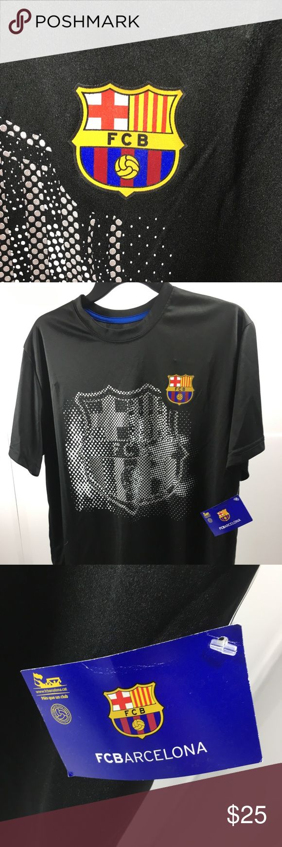 Men's shirt FCB BARCELONA LG POLY Mens T Shirt FCB BARCELONA LG PILY MIX BLACK Shirts Tees - Short Sleeve