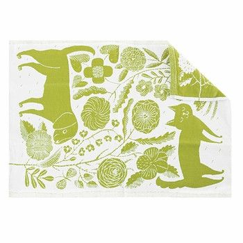 Koira Ja Kissa linen/cotton kitchen towel, White/Green