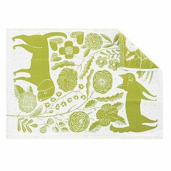 Koira Ja Kissa linen/cotton kitchen towel, White/Green