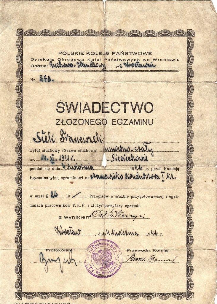 Franciszek Siek - Konduktor I klasy