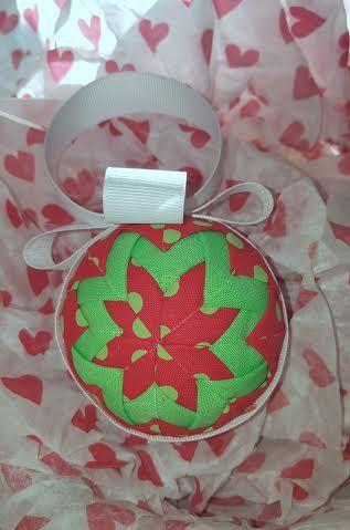 Red and Green Polka Dot Fabric Ornament by KraftyGirlCreations  kraftygirlcreations.etsy.com