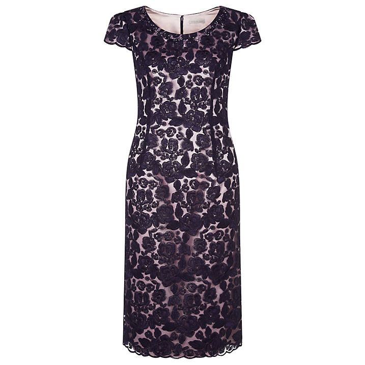Buy Jacques Vert Corded Lace Dress, Dark Purple, 8 Online at johnlewis.com