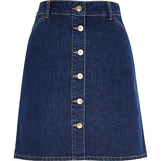 Mid wash 70s button A-line denim skirt