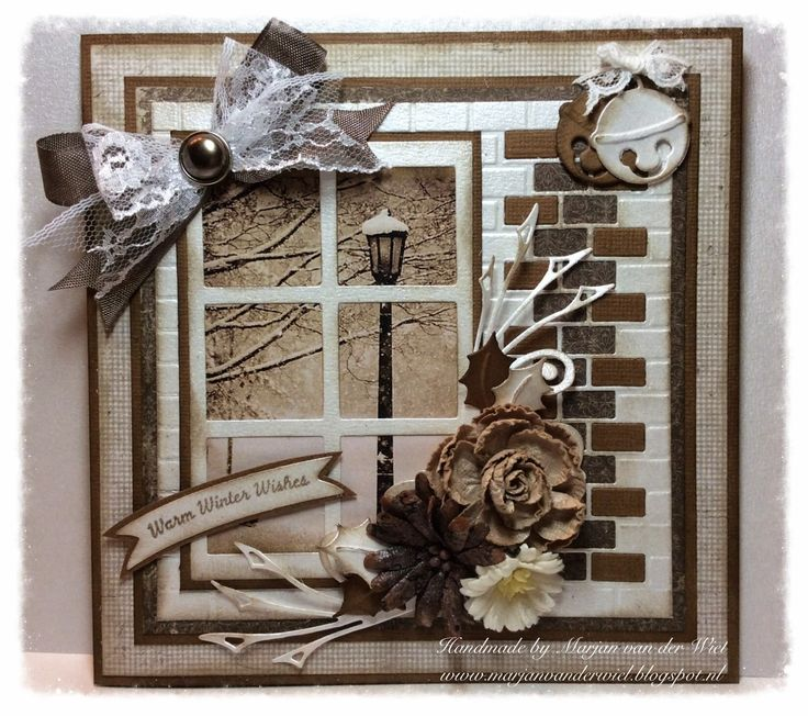 Card by DT member Marjan with among others Design Folder Extra Bricks (DF3403), Craftables Snow Window (CR1286) and Collectables Jingle Bells (COL1363) by Marianne Design