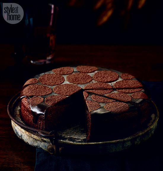 Chocolate hazelnut fudge cake with ganache. Style at Home, Nov 2015