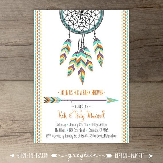 Dreamcatcher Invitations • Birthday • Bridal Shower Shower • arrows feathers tribal native • DIY Printable