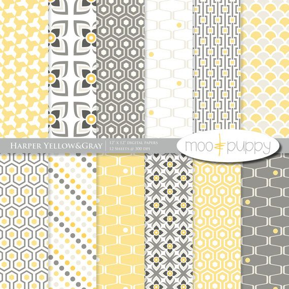 Yellow and Gray Digital Scrapbook Paper Pack --   Harper Yellow&Gray  -- INSTANT DOWNLOAD