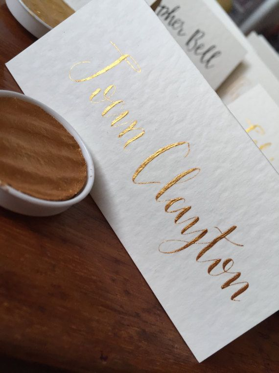 Metallic Wedding Place Cards Calligraphy by MomentsByRA on Etsy