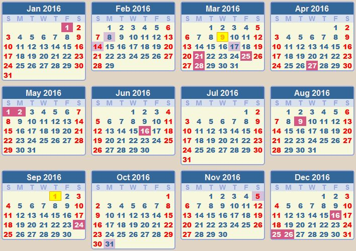 2016 Calendar With Holidays Printable 4