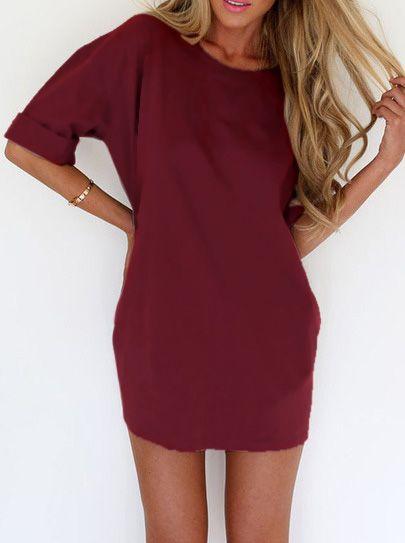 robe moulante amincissante col rond -rouge bordeaux
