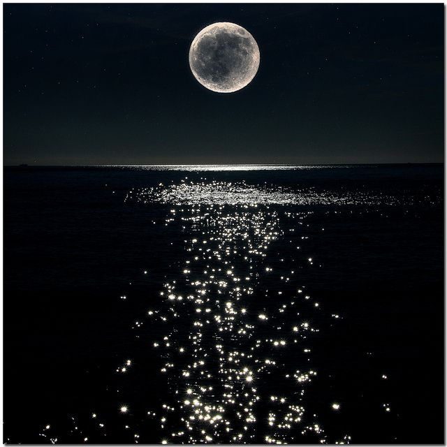 Full Moon shining high in the sky over the water, lighting up the night skies and shining, sparkling in the water. Love this!!
