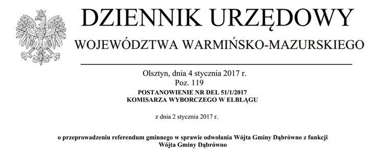 W Dąbrównie referendum odwoławcze odbędzie się 19 lutego 2017 r.