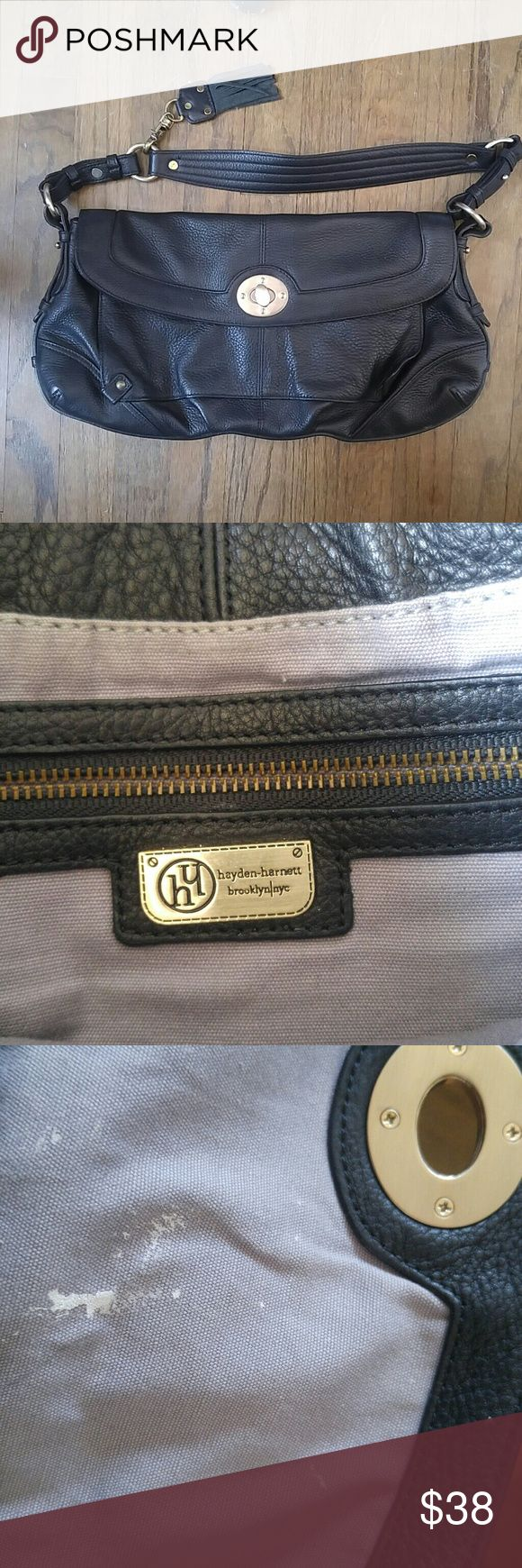 Hayden Harnett Black Leather Shoulder Bag In excellent condition, leave for some white stains on inside and a missing button on outside. hayden-harnett Bags Shoulder Bags