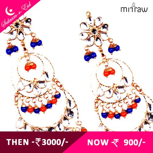 Splendid Golden color with blue & orange pearls dangler kundan earrings.Shop Now- http://bit.ly/1NySYZO  ‪#‎Salaam‬-e-Eid
