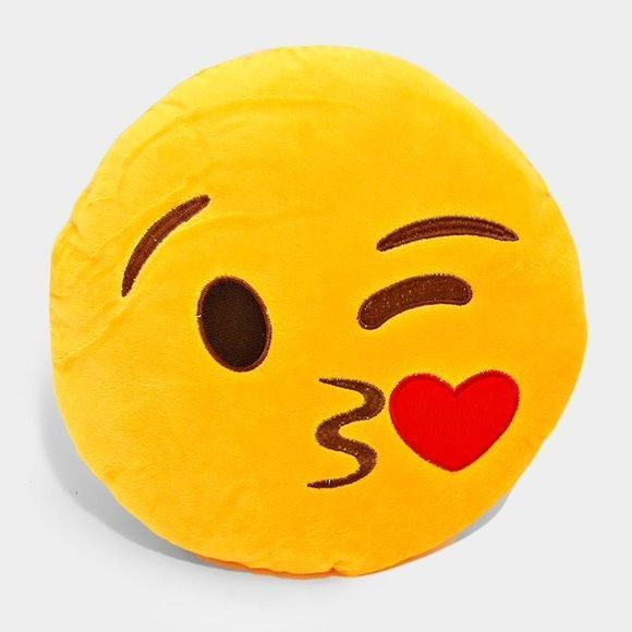 """Blowing a kiss emoji pillow • Color : Yellow • Size : 11"""" W • Blowing a kiss emoji pillow Other"""