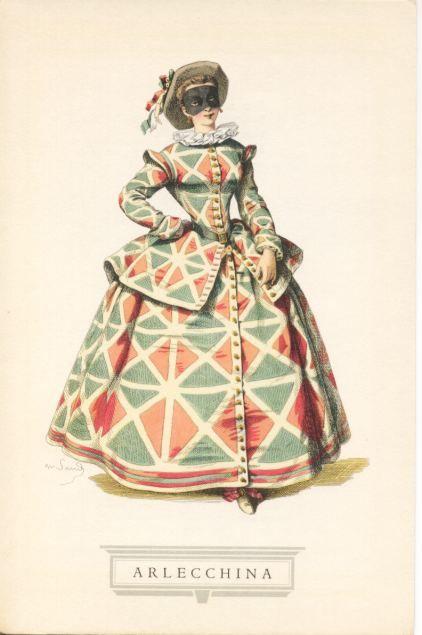 Arlecchina, col costume a toppe colorate, appare per la prima volta sulle scene a Parigi nel 1695 in un dramma intitolato «Ritorno dalla fiera di Besons».