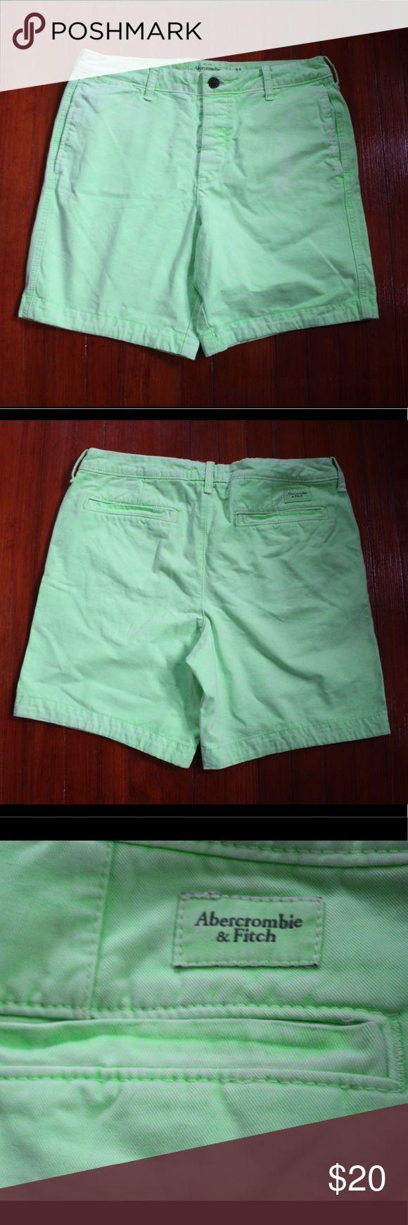 "Abercrombie garment washed Neon green short. This is a pair of Abercrombie garment washed Neon green short. They're a really nice faded neon green and are super soft and comfortable. Variation in the wear of the shorts are due to the garment wash process so they look like your favorite pair of shorts worn over and over again! They have a 7"" inseam so they hit right above the knee. Great condition. No stains or holes or tears! Abercrombie & Fitch Shorts Flat Front"