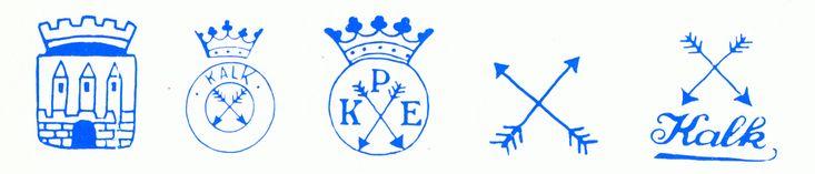 Markenabbildung verschiedener Porzellanmarken, welche von der Porzellanfabrik Kalk bzw. der Vorläuferfabrik Verwendung fanden, Seite 123.