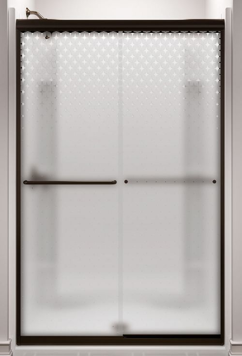 Sterling 'Starscape' — a fun retro shower door for a midcentury bathroom