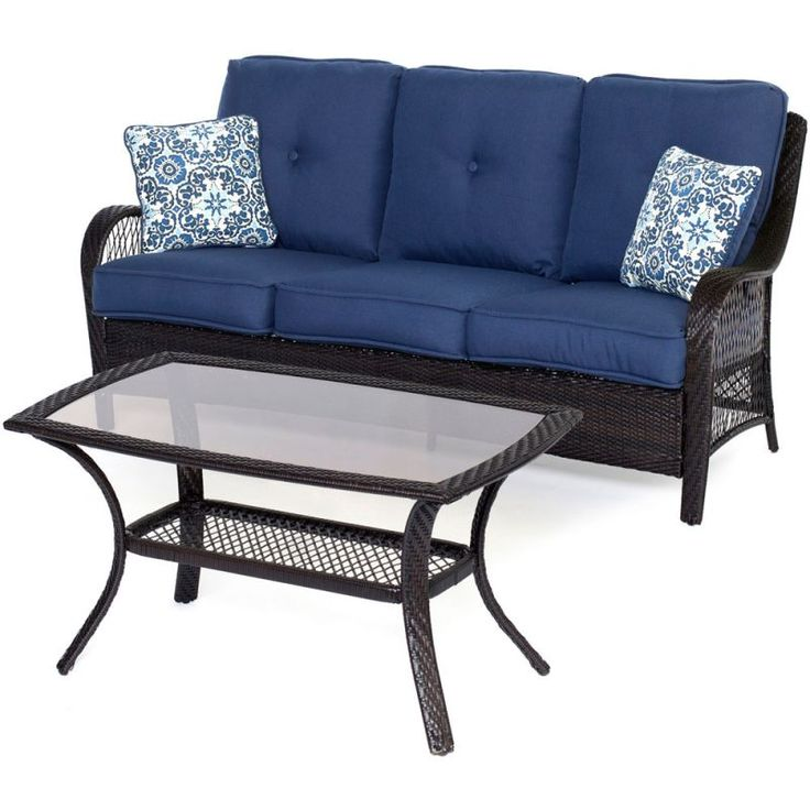 Hanover ORLEANS2PC Orleans 2-Piece Steel Framed Resin Wicker Outdoor Sofa Set wi Brown / Navy Furniture Outdoor Furniture Outdoor Sofas