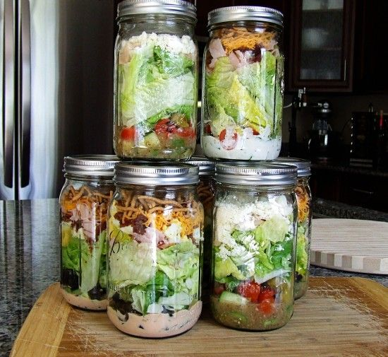 "Ok... A quick and easy way to help stay on track!  I always do better with a ""good eating plan"" when I plan ahead!  Salads in a jar!"