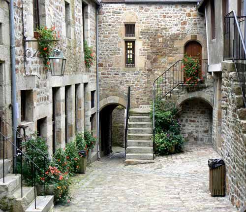 The old part of Villedieu les Poeles, Normandy