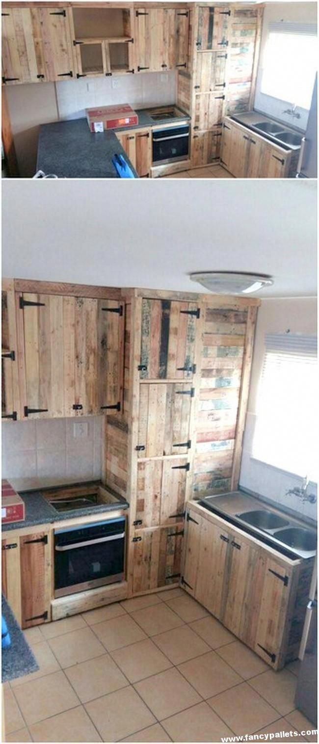 Inexpensive Diy Recycling Pallet Kitchen Cabinet Palletfurniture Pallet Kitchen Cabinets Pallet Kitchen Wood Furniture Diy