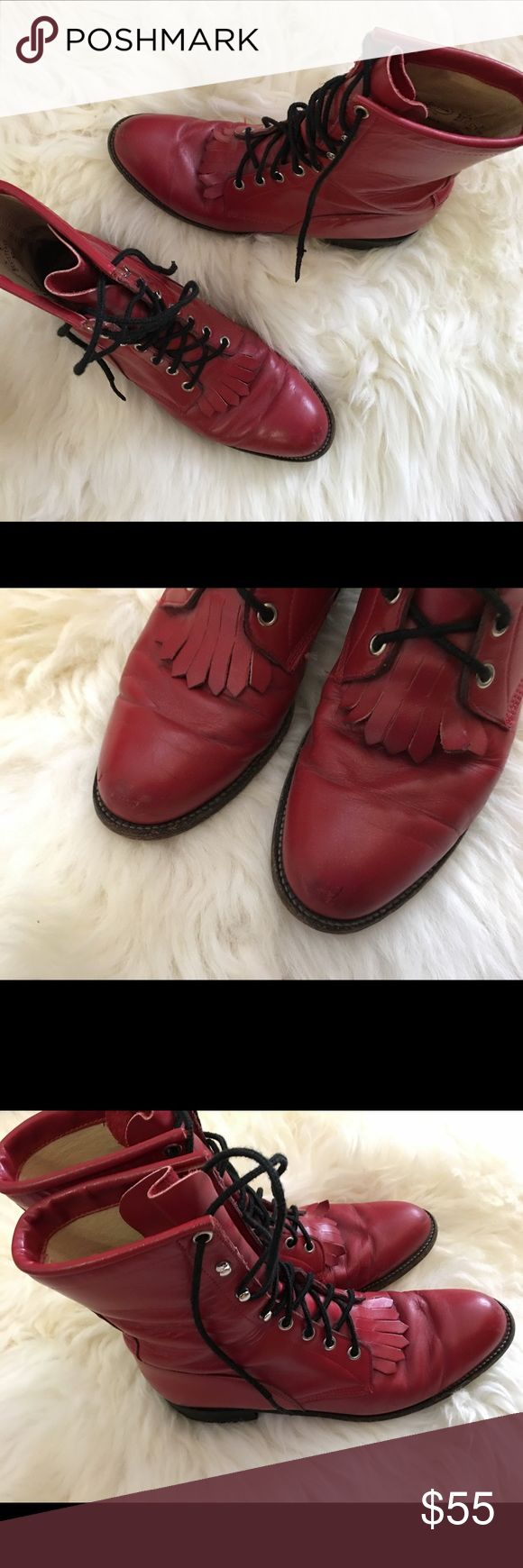 Justin roper boots Red Justin roper boots.  Used but still lots of life left!!!  Genuine leather.  Size 8.5. Justin Boots Shoes Lace Up Boots
