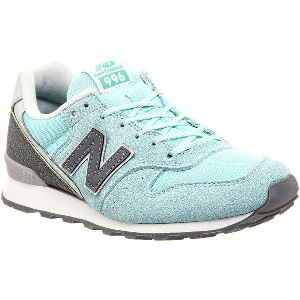 New Balance Wr996 Trainers ($100) ❤ liked on Polyvore featuring shoes, sneakers, hers trainers, pastel blue, trainers, new balance shoes, lightweight sneakers, silver shoes, blue shoes and new balance trainers
