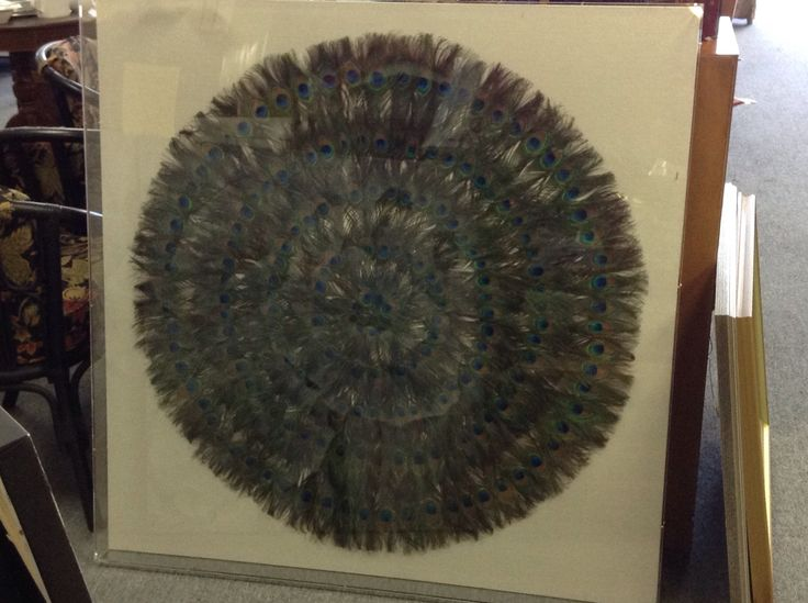 Art   Peacock Feather - Very large 47 inches by 47 inches. Shadow box style mount.  Item 1531-23. Price. $850.00    - http://takeitorleaveit.co/2017/05/29/art-peacock-feather/