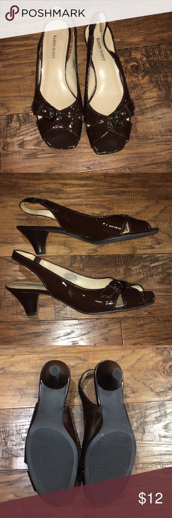 Women's sling back heels Women's size 10 chocolate colored sling back low heels.  Worn once.  Great condition.  Small amount of scuffing on one toe.  Would not be noticeable when shoe is on foot.  Great for a bridesmaids/formal attire! Karen Scott Shoes Heels
