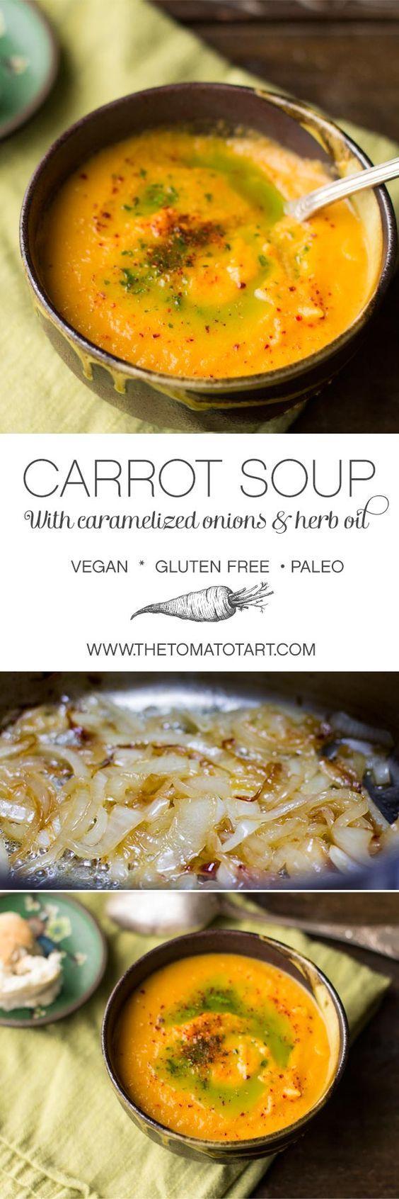 Caramelized Onion & Carrot Soup #vegan #glutenfree #paleo - maybe use cauliflower instead of potatoes