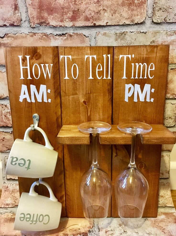 A personal favourite from my Etsy shop https://www.etsy.com/uk/listing/483600345/mug-rack-wine-rack-am-pm-how-to-tell