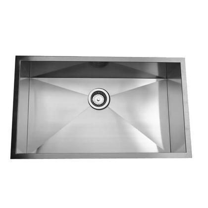 ZR3219-16 - 32 Inch Pro Series Large Rectangle Single Bowl Undermount Zero Radius Stainless Steel Kitchen Sink