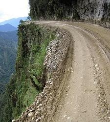 Death Road, Bolivia It's not called death road all the roads in the mountains look like that.
