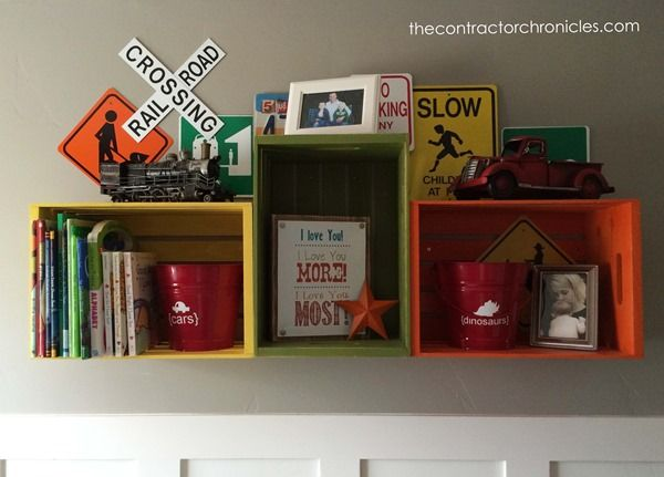 Shelving idea! Boys Rustic Transportation Bedroom - The Contractor Chronicles