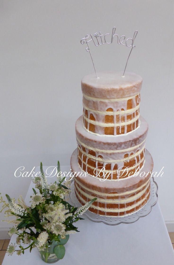 Boho Wedding Naked Lemon Drizzle Wedding Cake   Cake Designs By Deborah