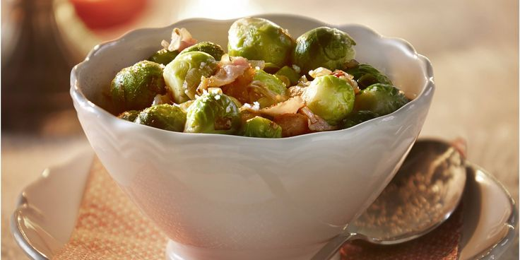 Sprouts with shallot and bacon