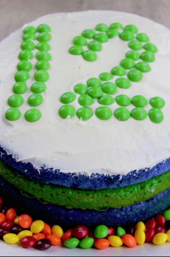 Seattle Seahawks Cake.  Gotta bring this Sunday for all our Bronco fans.