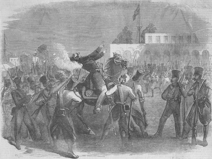 The death of Colonel Finis at the parade ground at Meerut depicted in Illustrated London News1857
