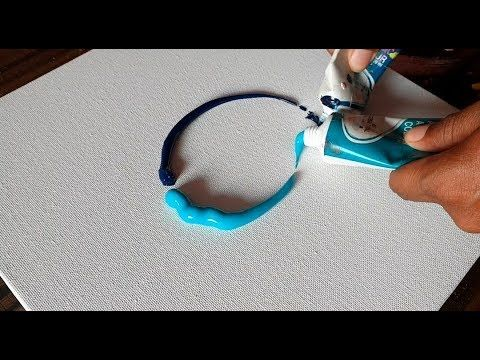 BLUE / Demonstration of Abstract Painting / Acrylic / Satisfactory / Project 365 Days / Day # 0257 – YouTube