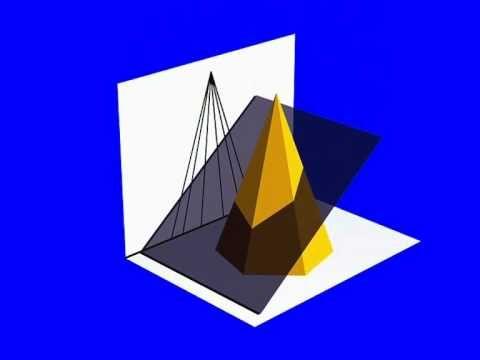 Sección y verdadera magnitud de un plano de canto sobre una pirámide hexagonal. - YouTube